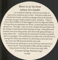 Beer coaster creemore-springs-1-zadek