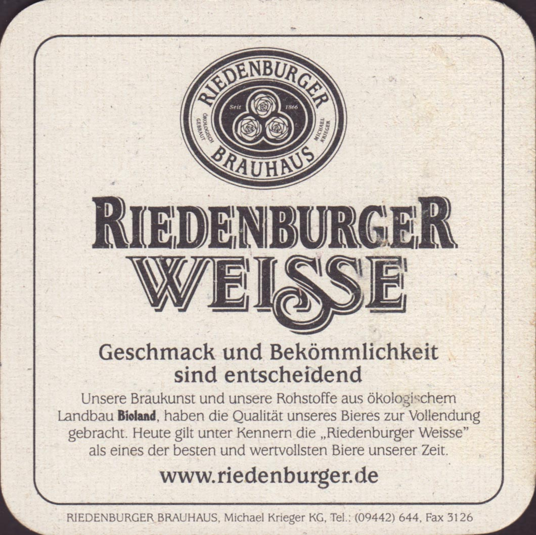 Beer coaster riedenburger-brauhaus-1-zadek