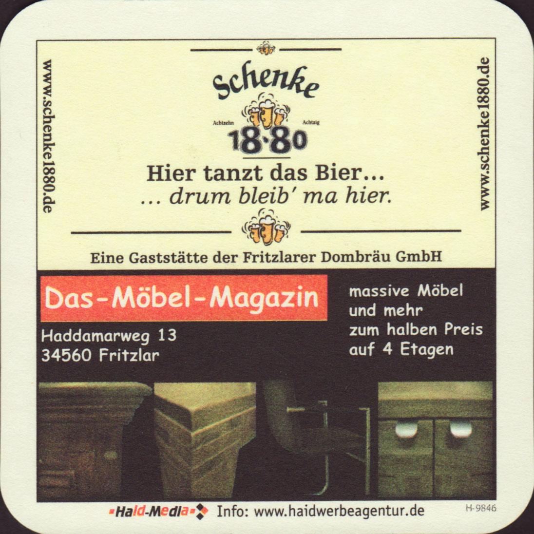 Möbel Fritzlar brewery fritzlarer dombrau schenke 18 80 fritzlar coaster